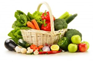 basket with abundance of healthy foods